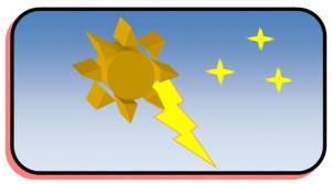 Příklad uspořádaných objektů v popředí a pozadí (rámeček s modrou oblohou)