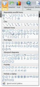 Záložka Vložení a sekce Ilustrace pro vkládání tvarů