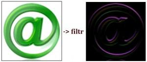 Výsledek filtru Prewitt k detekci hran v obraze