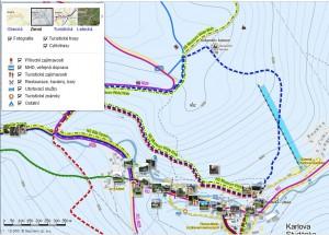 V zimní mapě lze zobrazit také letní turistické trasy a cyklostezky